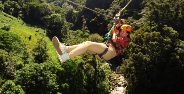 Zipline through jungle canopy in Boquete