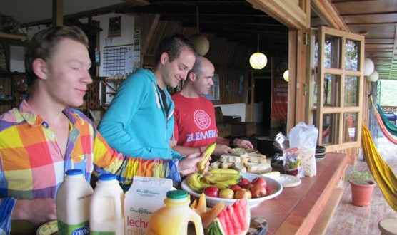 Having breakfast in our hostel in Turrialba