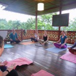 Yoga on the balcony of Spanish by the River - Turrialba.