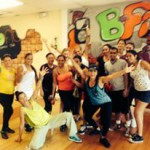 Group of zumba people in local gym