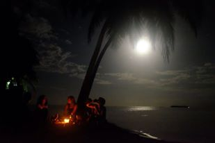 Beach fires are best with moon shine