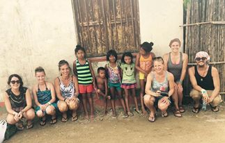 Students visiting a Guna Village on the San Blas trip.