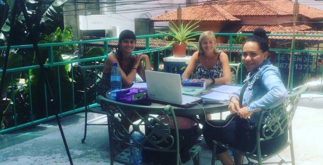 Teaching Spanish on the balcony in Panama City