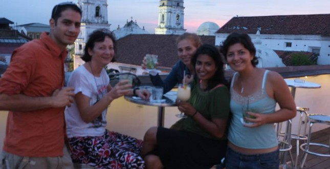 Roof top drinks in Panama City