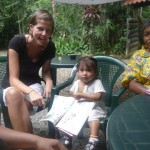 Foreign volunteer with local indigenous girl