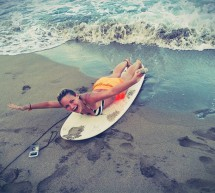 Student learning how to surf in Puerto Viejo