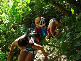 Students hiking to the waterfall - Turrialba