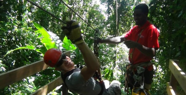 Zipline through the forest canopy of Bocas