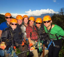 Students on a tree trek tour in Boquete