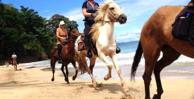 Caribe horse riding on the beach in Puerto Viejo