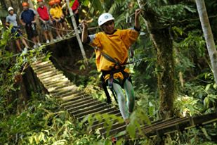 Canopy zipline tour in Turrialba