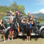 Group around a jeep in mountainous area