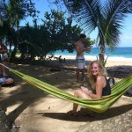 Student in hammock in Bluff Beach