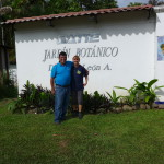Woman and Man in front of sign of C.A.T.I.E - Turrialba
