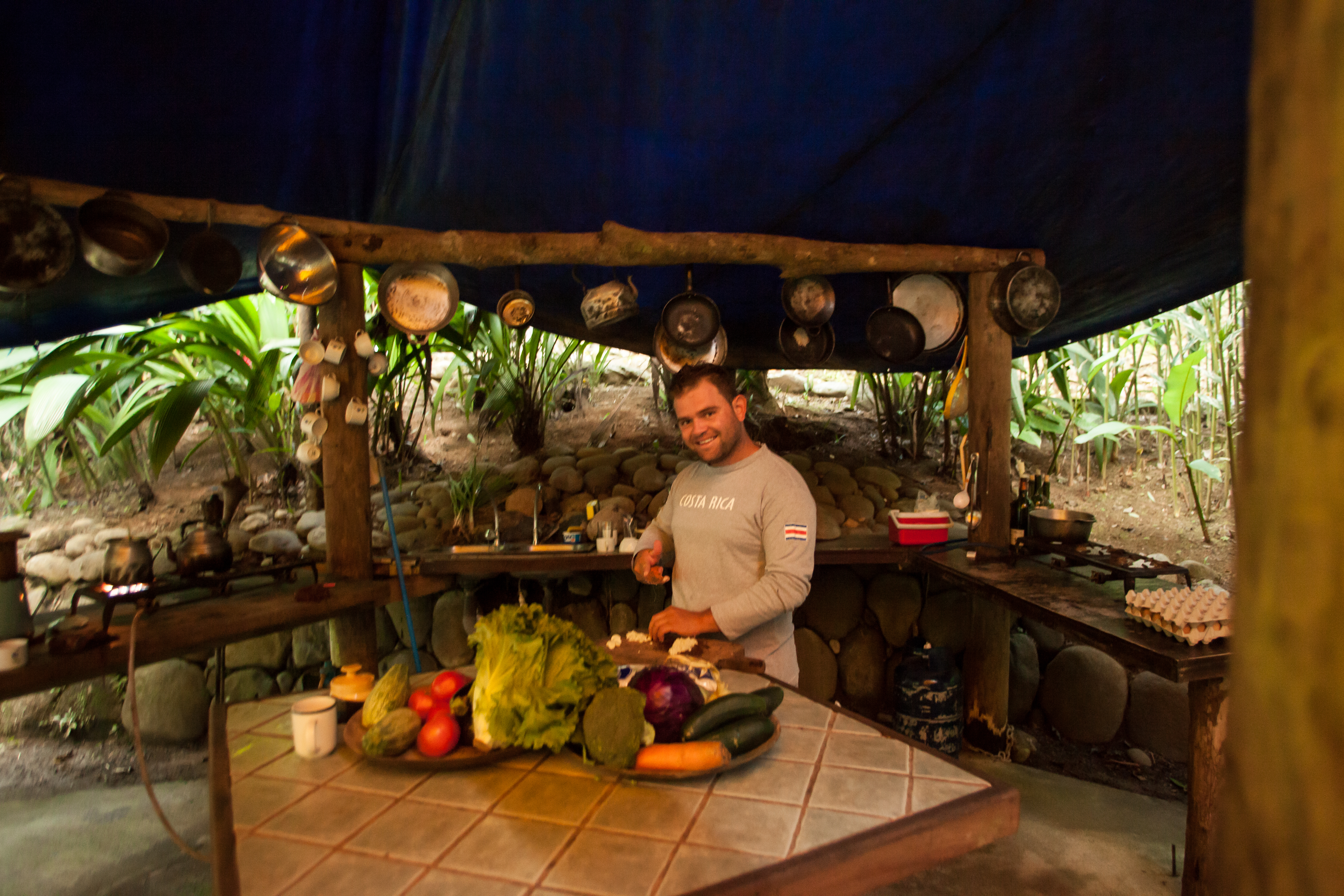 Guide behnd counter in jungle kitchen