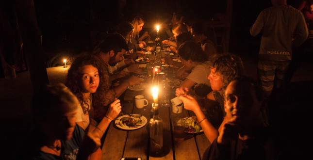 People eating dinner at Pacuare River Camp Costa Rica