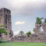 Tower and other parts of the ruines of Panama Viejo