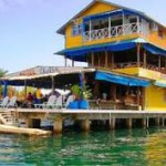 View of colorful hotel on the water